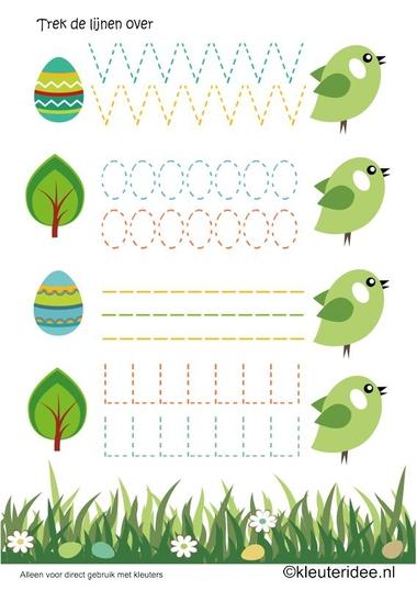 Schrijfpatroon lente vogels voor kleuters, kleuteridee.nl , spring birdy writing pattern for preschool , free printable.