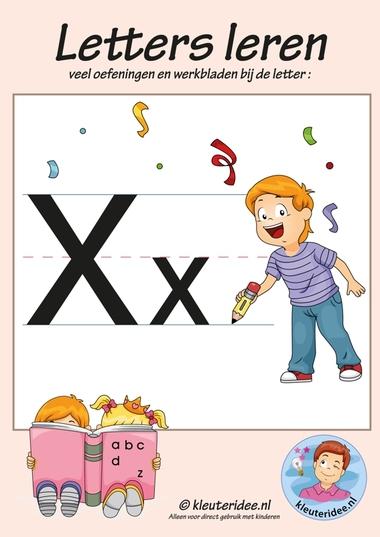 Pakket over de letter x blad 1, voorkant, letters aanbieden aan kleuters, kleuteridee.nl, free printable.
