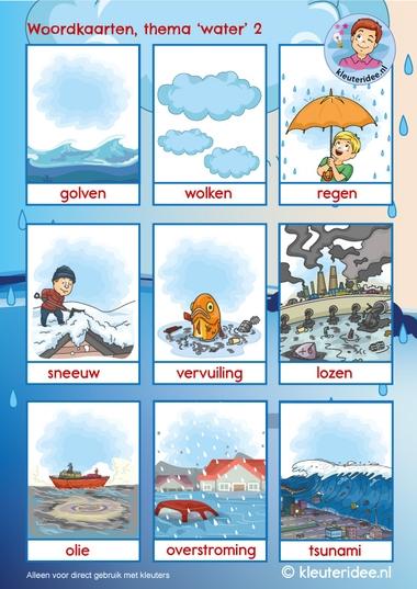 Woordkaarten thema water 2, kleuteridee, Kindergarten water theme, free printable