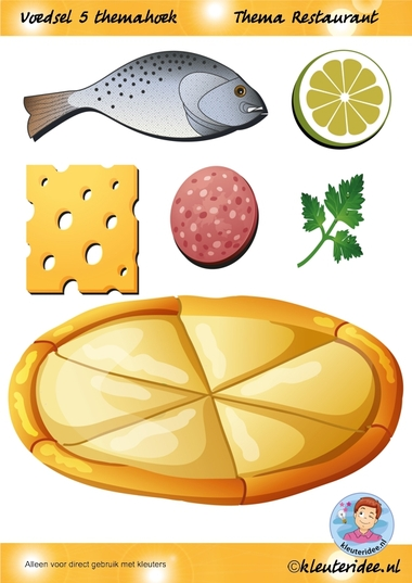 Voedsel 5 themahoek, thema restaurant, juf Petra van kleuteridee.nl, Restaurant role play,food, free printable.
