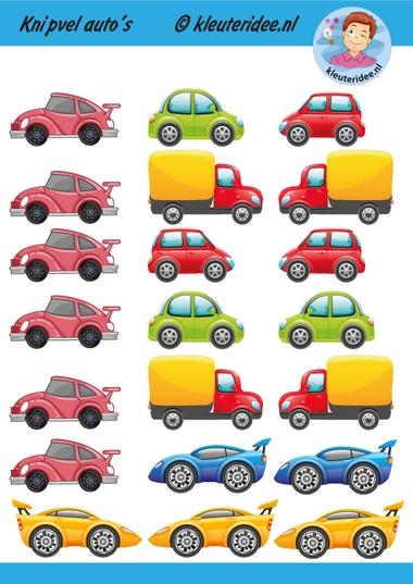 Knipvel auto's, kleuteridee, kindergarten car printable.