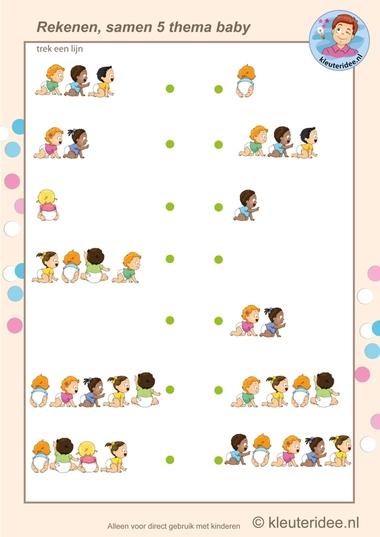 Samen vijf baby's , rekenen met kleuters, kleuteridee.nl, Kindergarten math, make five, baby theme, free printable.
