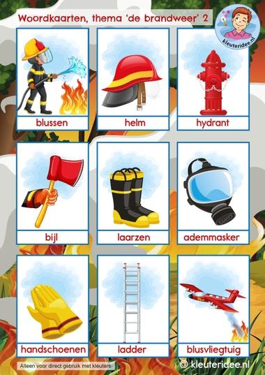 woordkaarten thema de barandweer, kindergarten firefighters theme, kleuteridee 2