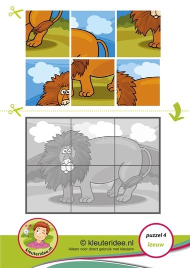 4. Puzzel leeuw, kleuteridee, thema dierentuin, Preschool lion puzzle, free printable.