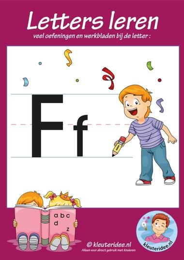 Pakket over de letter f blad 1, voorkant, letters aanbieden aan kleuters, kleuteridee.nl, free printable.
