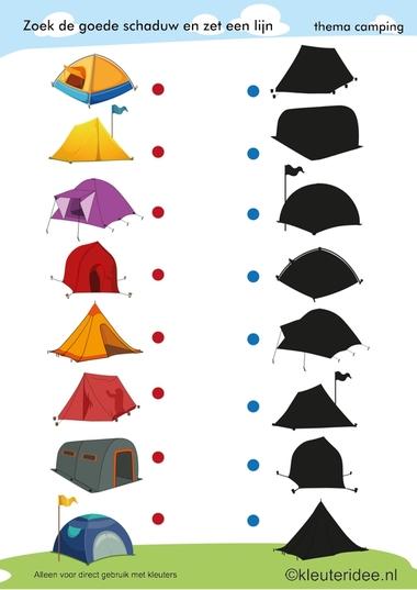 Zoek de goede schaduw, kamperen voor kleuters , thema camping, kleuteridee.nl, preschool shadow match, camping theme, free printable.