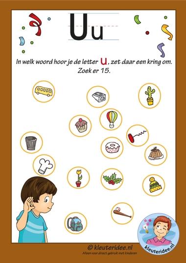Pakket over de letter u blad 10, Waar hoor je de u vooraan, antwoorden letters aanbieden aan kleuters, kleuteridee, free printable k