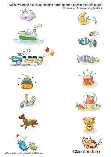 Welke woorden van de plaatjes hebben dezelfde beginletter 1 , kleuteridee.nl, free printable.