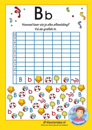 Pakket over de letter b blad 12, grafiek met de letter b, letters aanbieden aan kleuters, kleuteridee.nl, free printable.