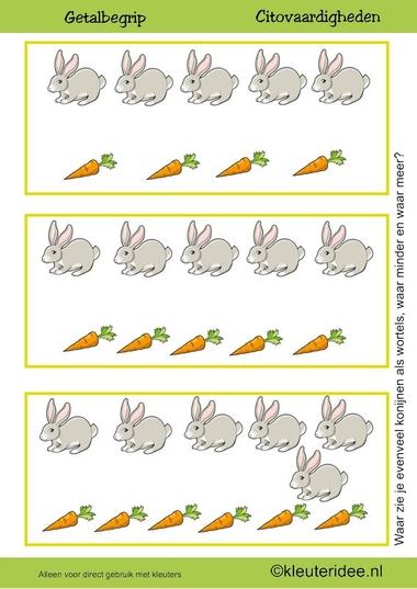 Citovaardigheden voor kleuters, kleuteridee.nl ,meten en getalbegrip, Waar zie je evenveel, waar meer en waar minder wortels dan konijnen 2 , rekenen voor kleuters.