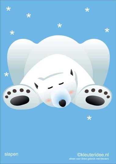 Bewegingskaarten ijsbeer voor kleuters 15 , slapen , kleuteridee.nl, thema Noorpool, Movementcards for preschool, free printable.