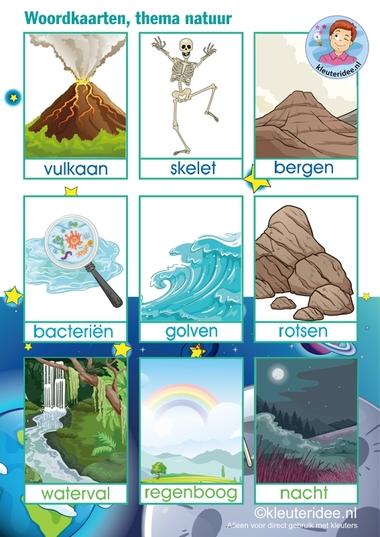 Woordkaarten 'Raar maar waar', thema natuur voor kleuters, kleuteridee.nl, free printable.