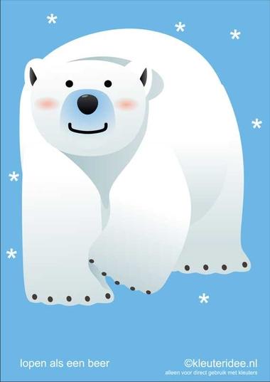 Bewegingskaarten ijsbeer voor kleuters 6, lopen als een beer , kleuteridee.nl, thema Noorpool, Movementcards for preschool, free printable.