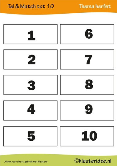 Tel & match tot 10, thema herfst, juf Petra van kleuteridee, count & match 1-10, Preschool autumn theme, free printable 2.