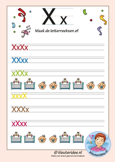 Pakket over de letter x blad 14, maak de letterreeksen af, kleuteridee, free printable k