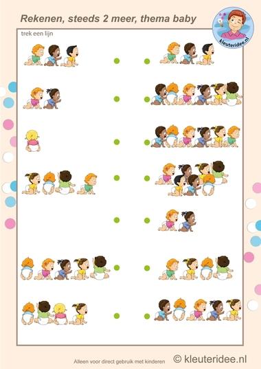 Steeds twee meer baby's, rekenen met kleuters, kleuteridee.nl, Kindergarten math, two more babies, baby theme, free printable.