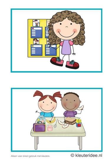 Dagritmekaarten voor kleuters 2, kleuteridee.nl , planbord en overblijven daily schedule cards for preschool 2, free printable.