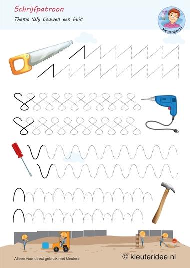 Schrijfpatroon, thema huizen bouwen, kleuteridee, free printable.