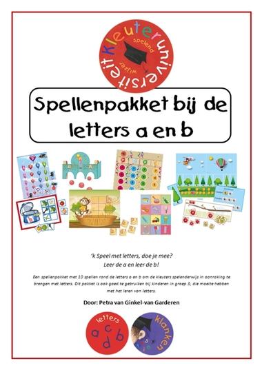 Spellenpakket bij de letter a en b, 10 verschillende educatieve spellen van juf Petra van kleuteridee.nl