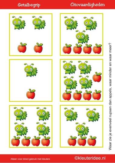Citovaardigheden voor kleuters, kleuteridee.nl , meten en getalbegrip, Waar zie je evenveel, waar meer en waar minder rupsen dan appels 1 , rekenen voor kleuters.