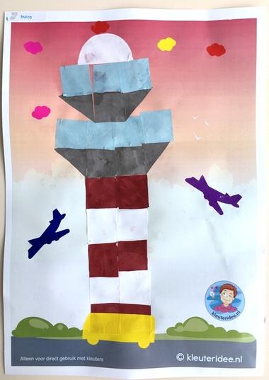 Verkeerstoren knutselen met 16 vierkantjes, thema vliegveld, kleuteridee, Kindergarten control tower craft, airport theme 3