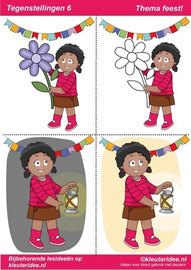 Tegenstellingen deel 6, thema feest voor kleuters, juf Petra van kleuteridee, bij behorende les op de website, preschool opposites, free printable.