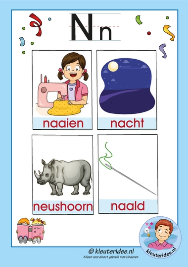 Pakket over de letter n blad 3, woordkaarten met een n, kleuteridee, free printable