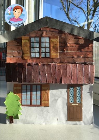 chalet knutselen, thema bergen kleuters, Kindergarten mountains craft k, kleuteridee