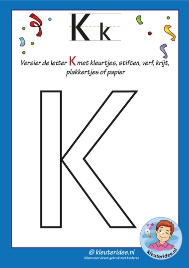 Pakket over de letter k blad 5, versier de hoofdletter K, kleuteridee, free printable