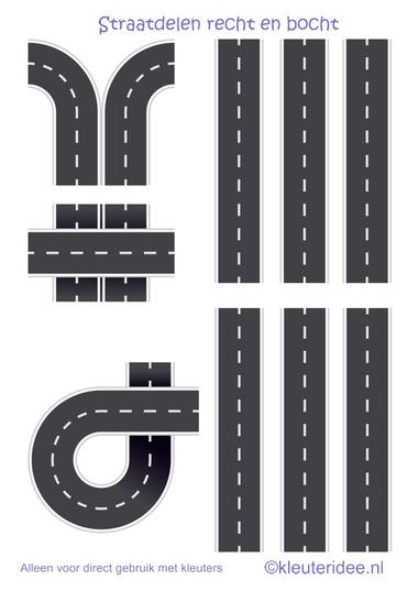 Straaplaten voor kleuters A3, recht en bocht, kleuteridee.nl , road for preschool, free printable.