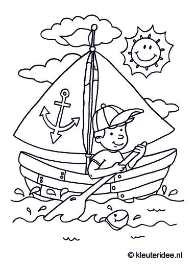 Zeilboot, kleurplaat voor kleuters, thema Zeeland, kleuteridee.nl, Sail, coloring page, free printable.Zeilboot, kleurplaat voor kleuters, thema Zeeland, kleuteridee.nl, Sail, coloring page, free printable.