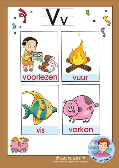 Pakket over de letter v blad 3, woordkaarten met een v, kleuteridee, free printable