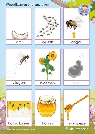 Woordkaarten voor kleuters, thema bijen 2, juf Petra van kleuteridee, Preaschool bees theme, free printable.