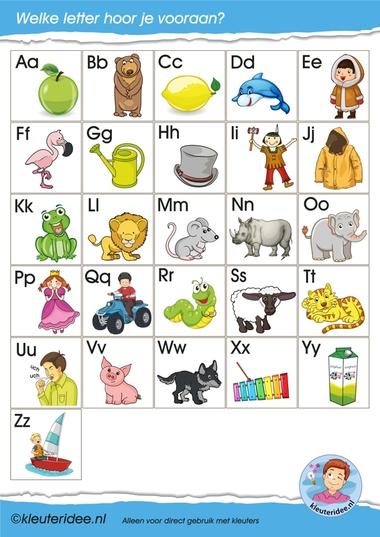 Letterkaartjes voor de taalhoek, letters herkennen, eerste letter, kleuteridee.nl, free printable.