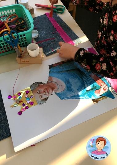 Koningin Elizabeth knutselen met kleuters, thema Engeland 4, Queen Elizabeth craft kindergarten, kleuteridee