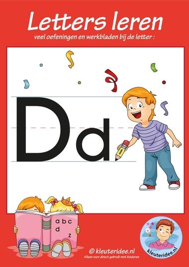 Pakket over de letter d blad 1, voorkant, letters aanbieden aan kleuters, kleuteridee.nl, free printable.