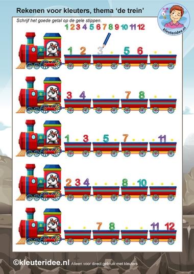 rekenen voor kleuters 3, steeds 1 minder, thema de trein, kleuteridee, free printable.