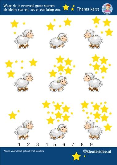 Waar zie je evenveel grote sterren als kleine sterren, thema Kerst voor kleuters, kleuteridee, free printable.
