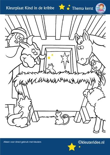 Kleurplaat Kind in de kribbe, thema Kerst voor kleuters, kleuteridee, free printable.