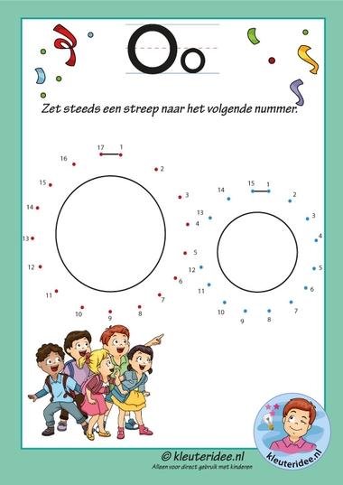 Pakket over de letter o blad 13, verbind de punten, kleuteridee, free printable