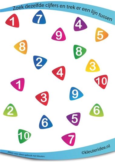 Zoek dezelfde cijfers, juf Petra van kleuteridee, rekenen met kleuters, looking at the same numbers, free preschool printable.