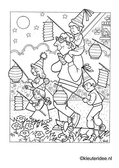 Kleurplaat lampionnenoptcht voor kleuters , kleuteridee.nl , preschool coloring.