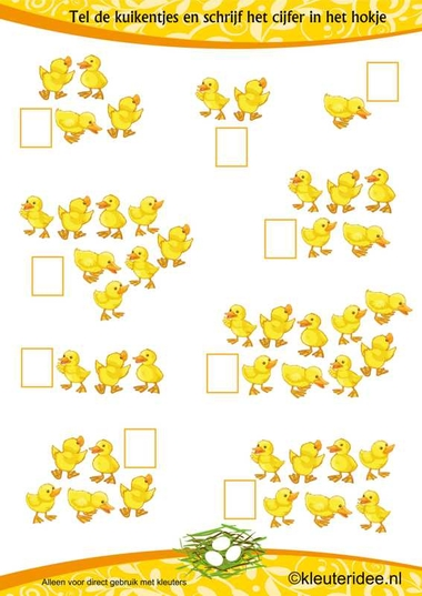 Het is lente, tel de kuikentjes, kleuteridee.nl , thema lente, It is spring, count the chicks, free printable.