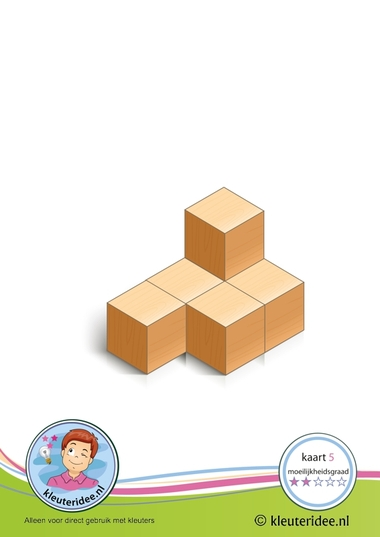 Bouwkaart 5 moeilijkheidsgraad 2 voor kleuters, kleuteridee, Preschool card building blocks with toddlers 5, difficulty 2.
