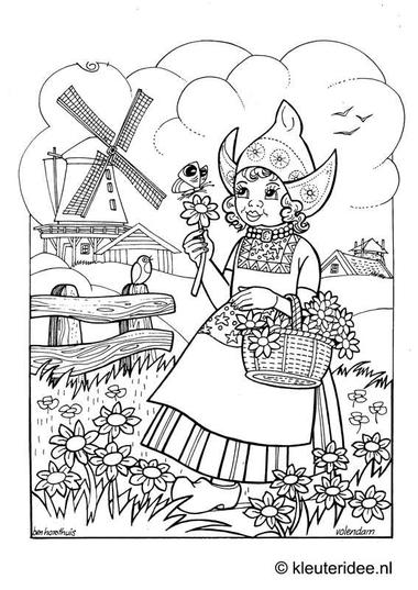 Kleurplaat Volendam, kleuteridee.nl , Volendam coloring.