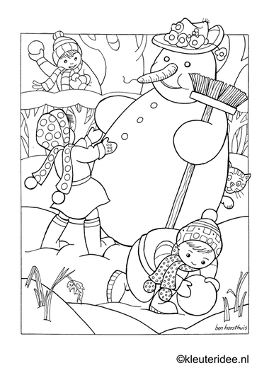 Kleurplaat sneeuwpop in de winter , kleuteridee.nl , snowman in the winter preschool coloring.