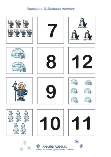 Tel memory 2 , kleuteridee.nl, thema Noordpool en Zuidpool, counting memory for preschool 2, free printable.