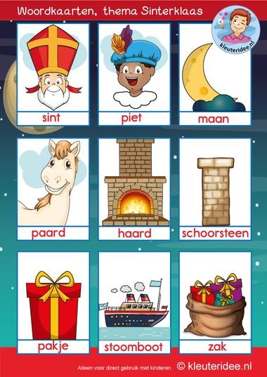 Woordkaarten thema Sinterklaas 1, 5 december, kleuteridee, free printable