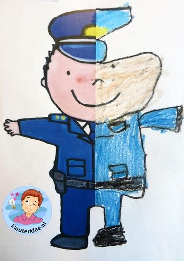 Halve politieman tekenen met kleuters 2, kleuteridee.nl, thema politie