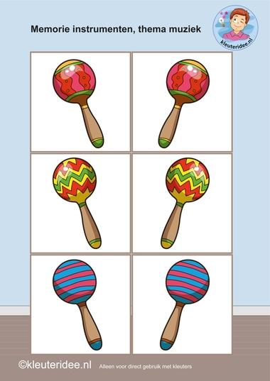 Muziekinstrumenten memorie 1, thema muziek, kleuteridee.nl, Kindergarten music memory game, free printable.